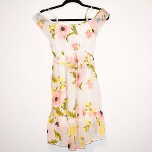 White Dress Pink Yellow Flowers 7/8